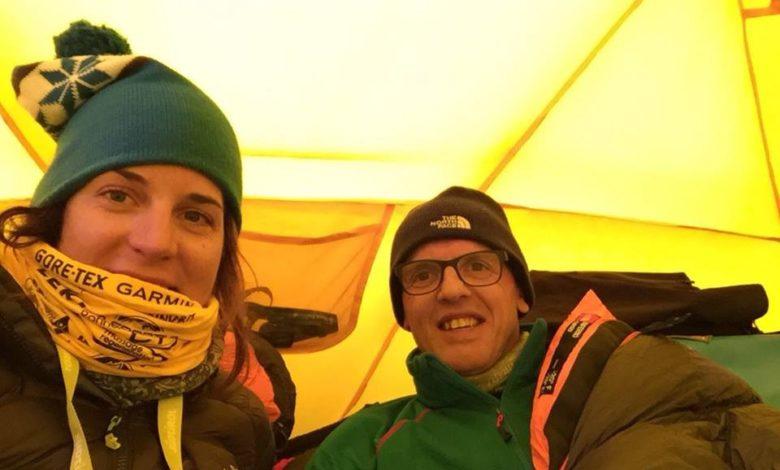 Photo of Simone Moro e Tamara Lunger arrivati al campo base Manaslu a 4.750 mt