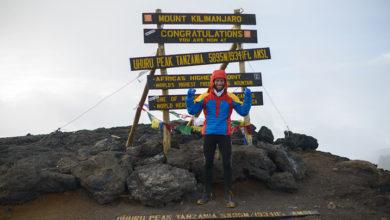 Photo of Danilo Callegari sul Kilimanjaro. Africa Extreme 2015 missione compiuta