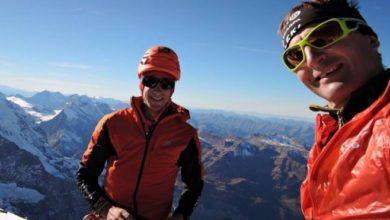 Photo of Ueli Steck e Kilian Jornet insieme sulla parete nord dell'Eiger