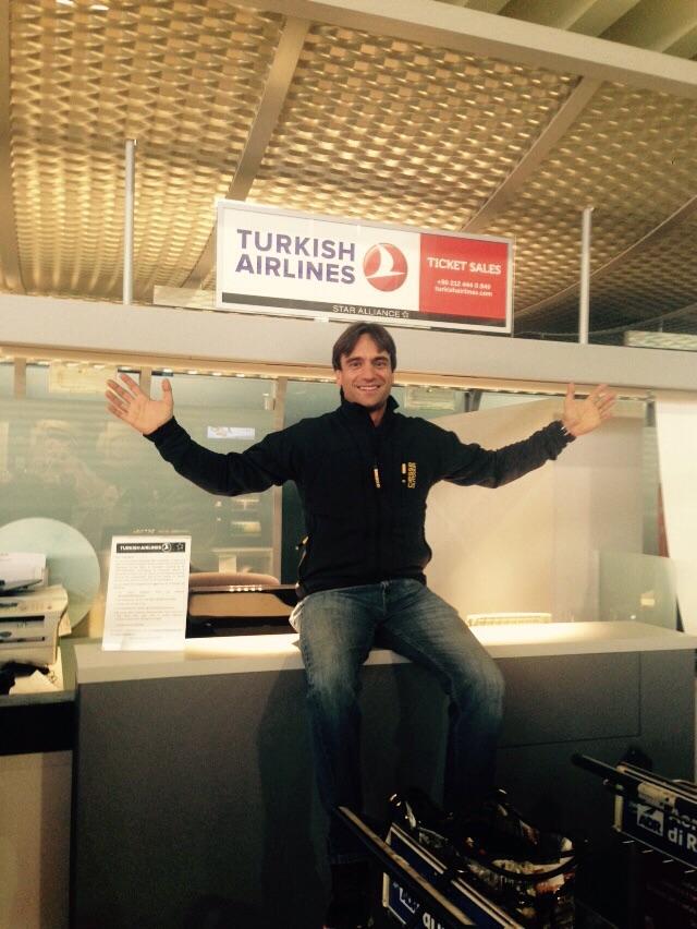 Daniele Nardi all'aeroporto di Fiumicino