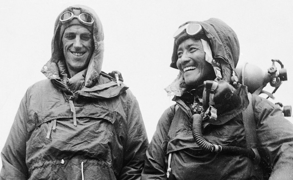 ** FILE **Sardar Tenzing Norgay of Nepal and Edmund P. Hillary of New Zealand, left, show the kit they wore when conquering the world's highest peak, the Mount Everest, on May 29, at the British Embassy in Katmandu, capital of Nepal, in this June 26, 1953 file photo. Hillary, the unassuming beekeeper who conquered Mount Everest to win renown as one of the 20th century's greatest adventurers, has died, New Zealand Prime Minister Helen Clark announced Friday. He was 88. (AP Photo, File)