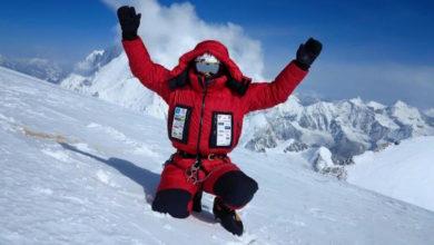 Photo of Marco Confortola in vetta al Gasherbrum II
