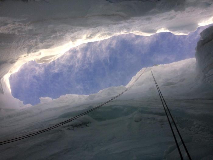Le ricerche del disperso nel crepaccio sul Monte Rosa (Aosta)