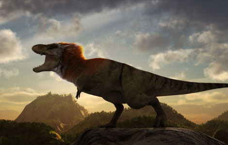 CGI IMAGE: One possible look for a feathered T-Rex with a more bird like posture and colored plummage.  (Photo Credit: © NGT)