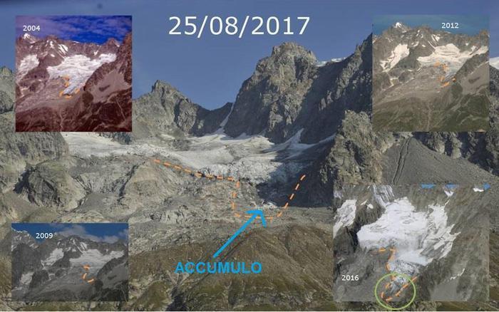 Per il caldo crollata 'lingua' ghiacciaio del Toula nel massiccio del Monte Bianco