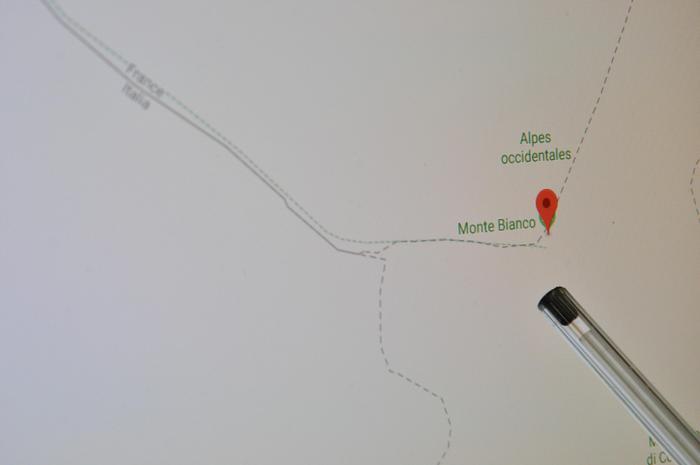 Google maps, confini Monte Bianco