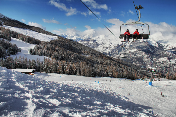 Sciatori a Pila (Valle d'Aosta)