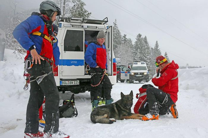 epa06461641 A handout picture made available by Bavarian Red Cross in Berchtesgadener Land shows a rescue team with search dogs preparing to save ski tourers who were trapped by an avalanche on the Zwiesel mountain near Bad Reichenhall, Germany, 21 January 2018. According to a report of the Red Cross, two local ski tourers on the Zwiesel (Chiemgau Alps) at an altitude of around 1,550 meters between the alpine pasture and the summit were caught and buried by an avalanche; one of the men complete, the second to the thighs. Other ski mountaineers managed to quickly locate and dig up the completely buried who had been pushed against a tree by the snow masses. Both men got away unharmed.  EPA/MARKUS LEITNER / RED CROSS / HANDOUT  HANDOUT EDITORIAL USE ONLY/NO SALES