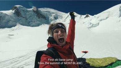 Photo of Matthias Giraud con gli sci dalla vetta del Monte Bianco