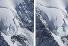 Photo of Monte Bianco, crolla parte del seracco Whymper su Grandes Jorasses